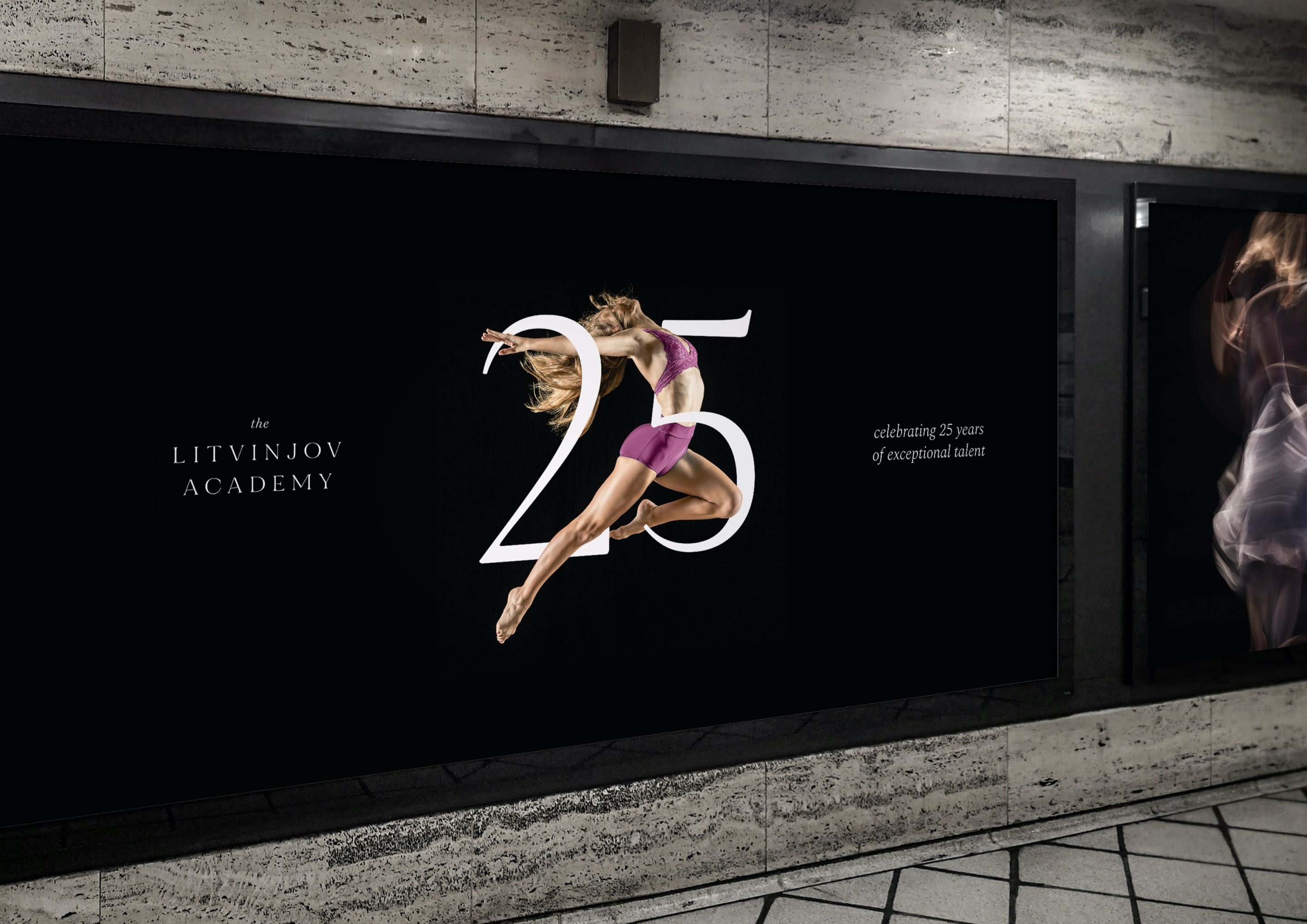 London billboard and advert design for ballet and contemporary dance school, The Litvinjov Academy