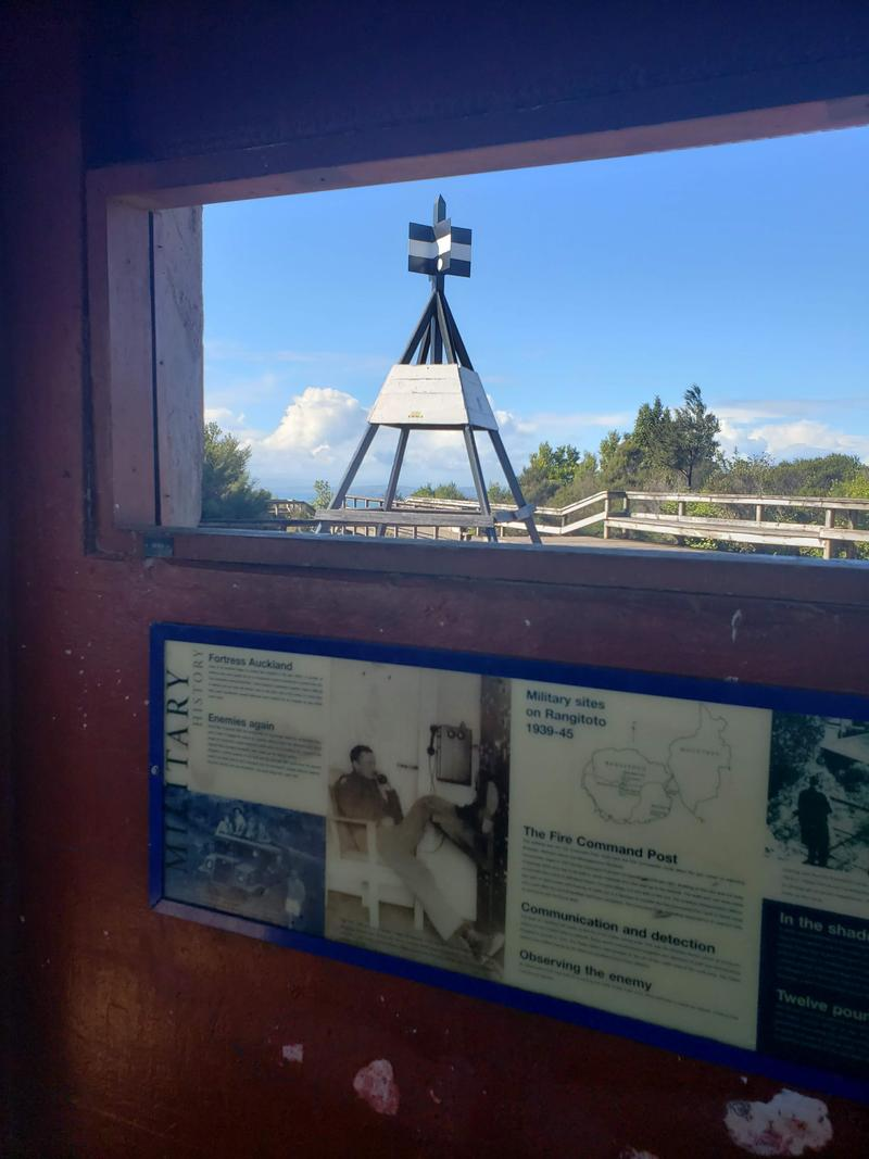 Military relic and trig at the Rangitoto summit