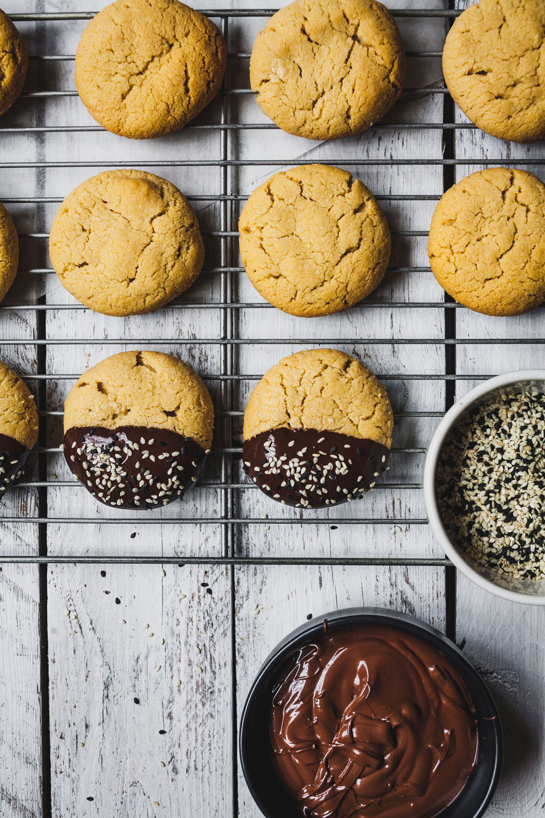 Chocolate Dipped Tahini Shortbread Cookies