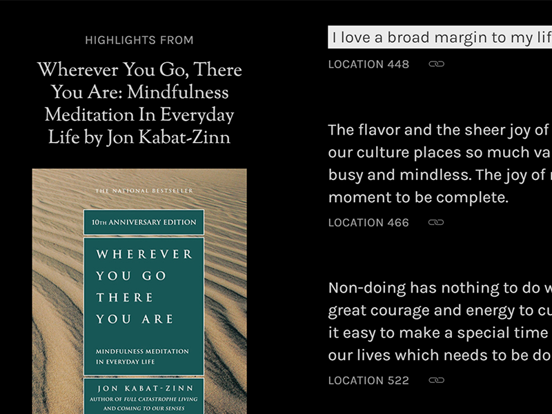 """A permalinked highlight that says """"I love a broad margin to my life."""""""