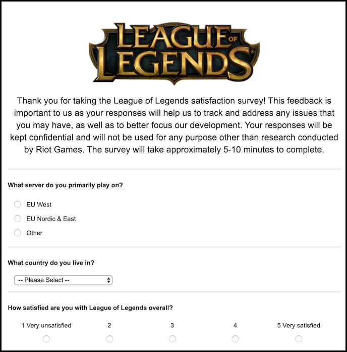 Example of survey form