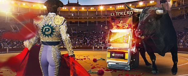el torero merkur slot platin casino promo banner mit torero mit platin logo der gegen einen stier kämpft mit der slot in der arena