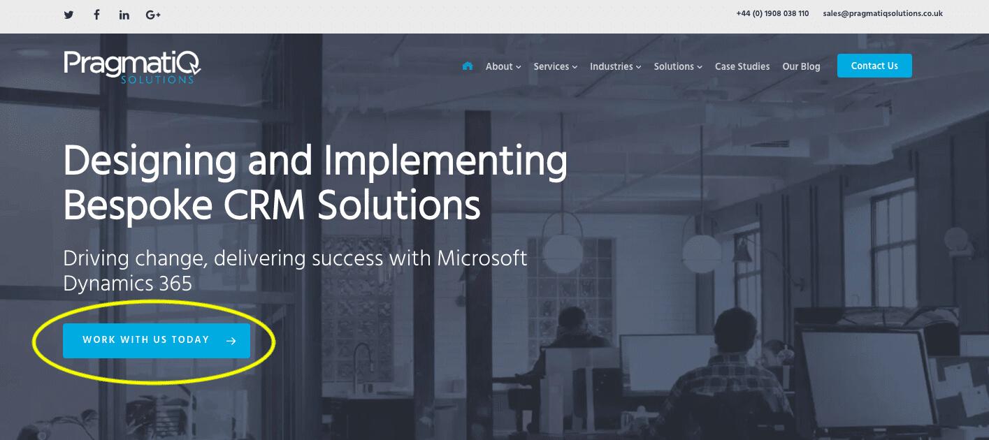 Pragmatiq Solutions Hero section of website