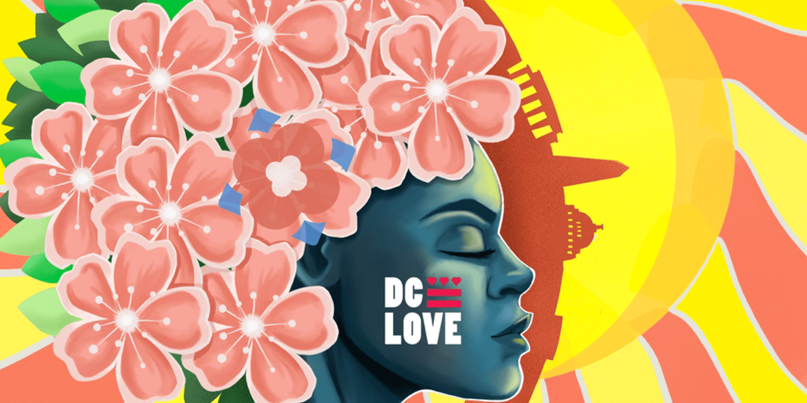 Illustration of a person's face with cherry blossoms and DC monuments in the background.
