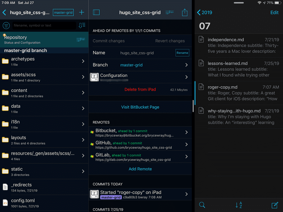 """iPad screen capture: Working Copy display of the local Git repository on the device"""""""