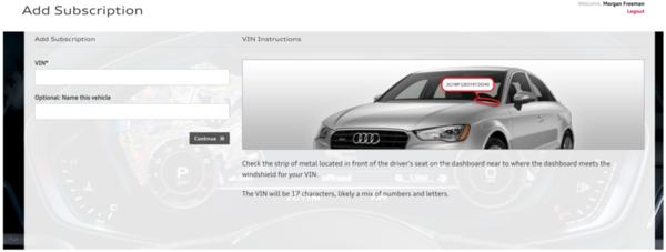 Audi connect VIN validation