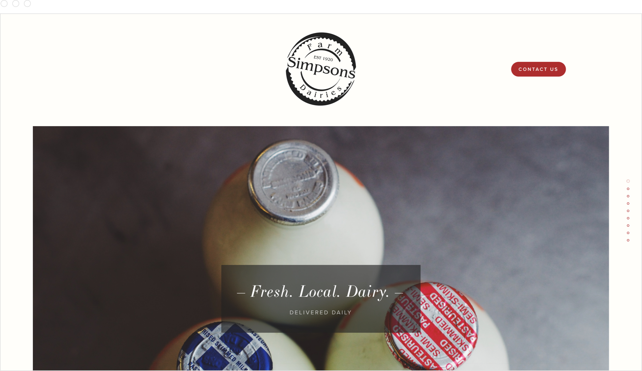 Authentic, rustic home page and website design by Jack Watkins for Lancashire dairy farm, Simpsons Farm Dairies