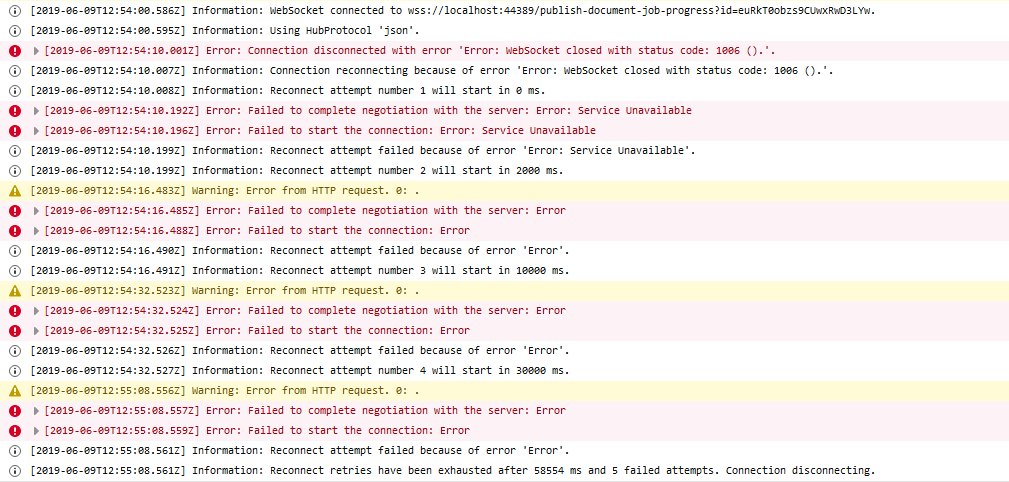 SignalR disconnects permanently after 5 tries