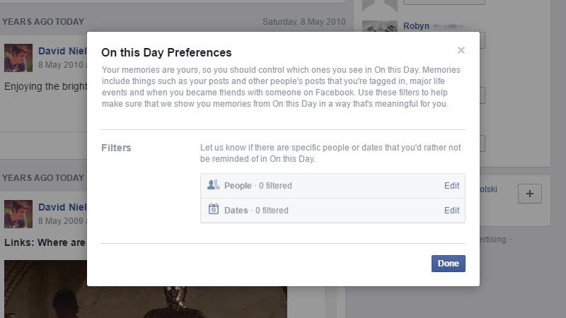 Example of Facebook filter for On This Day