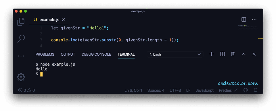 JavaScript remove last string character substring