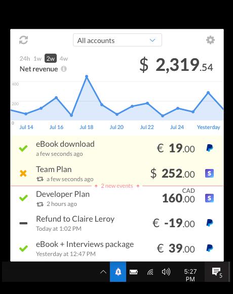 CashNotify menu bar app for Windows