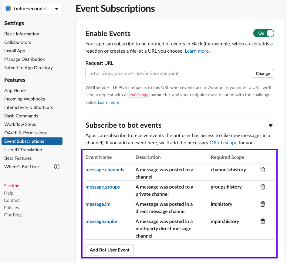 Subscribe to Bot Events Screenshot