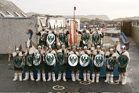 The Junior Jarl Squad visiting the local Primary school. Photo by Andrew Shearer.