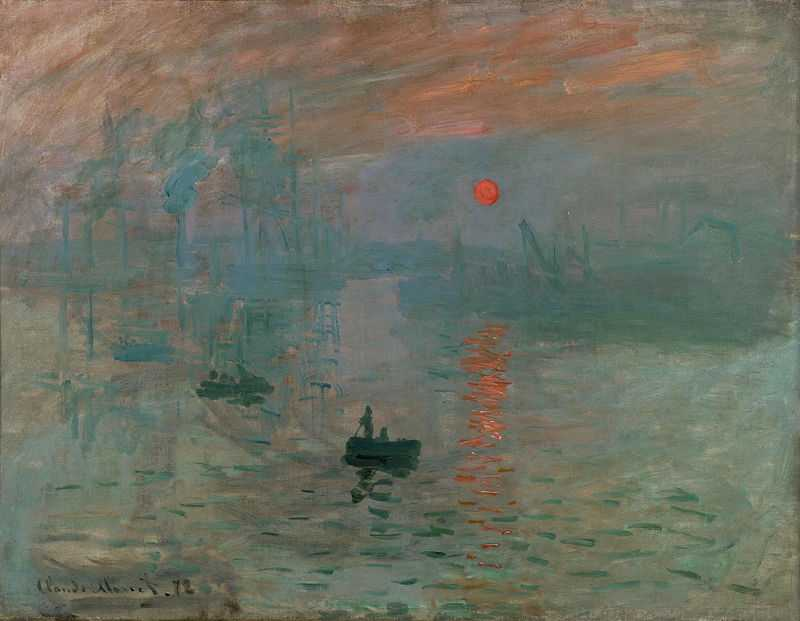 The first impressionist exhibition took place in 1874. One of Claude Monet's submissions, particularly derided by critics, was Impression: Sunrise.
