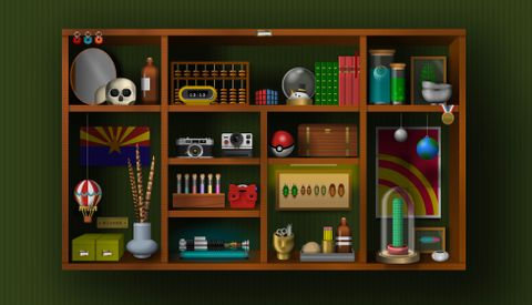A whole CSS-art cabinet of single-div objects drawn by Lynn Fisher, from a mirror and skull, to abacus, clock, viewfinder, plants, snow globe, hot air balloon, and lightsaber.