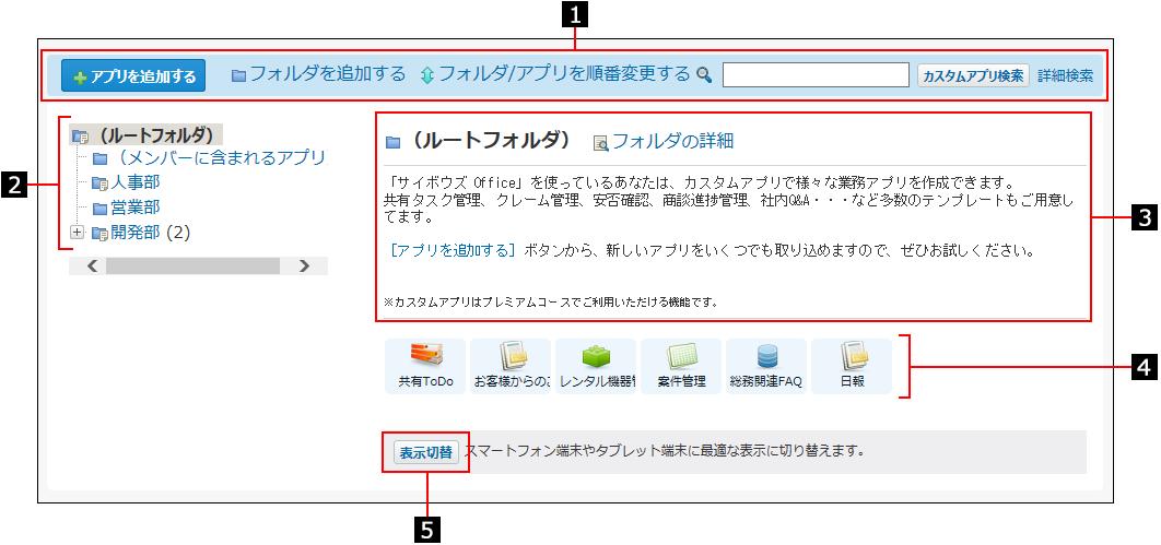 アプリの一覧画面を説明する番号付き画像