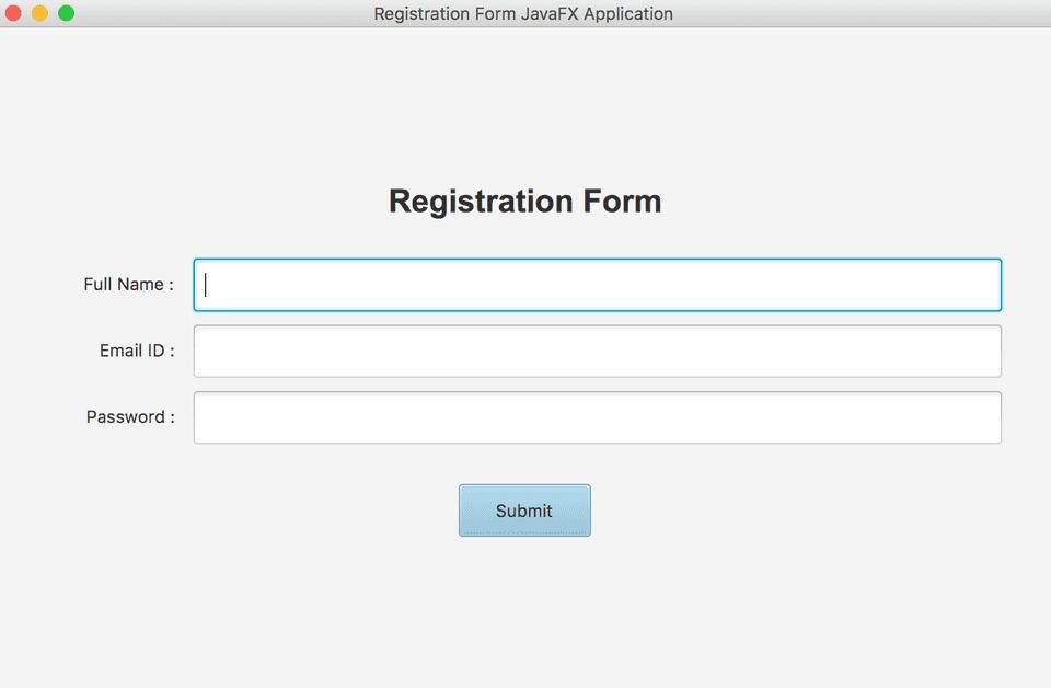 JavaFX Registration Form Example