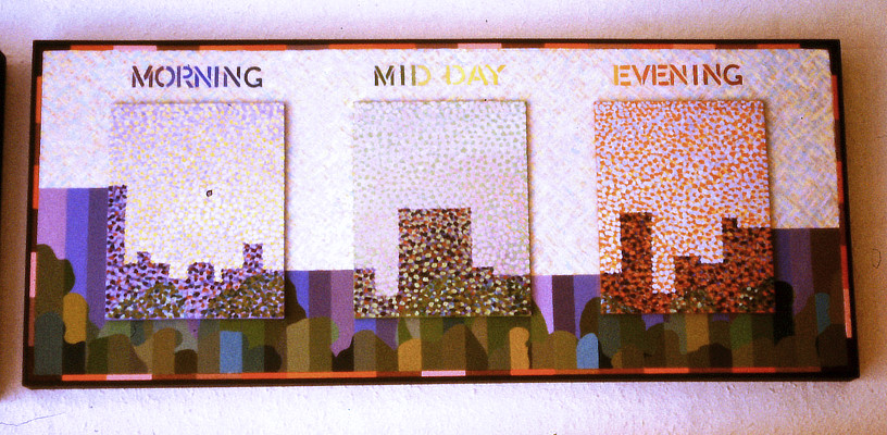 multipaneled painting of building silhouettes with Pointillist style colourful dabs