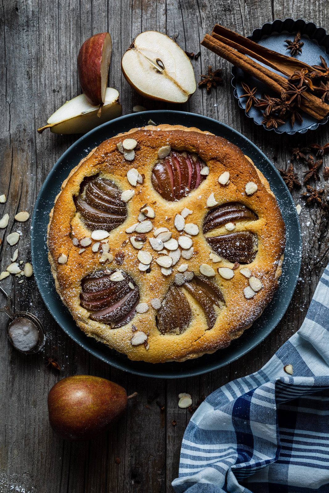 Poached Pear and Almond Tart