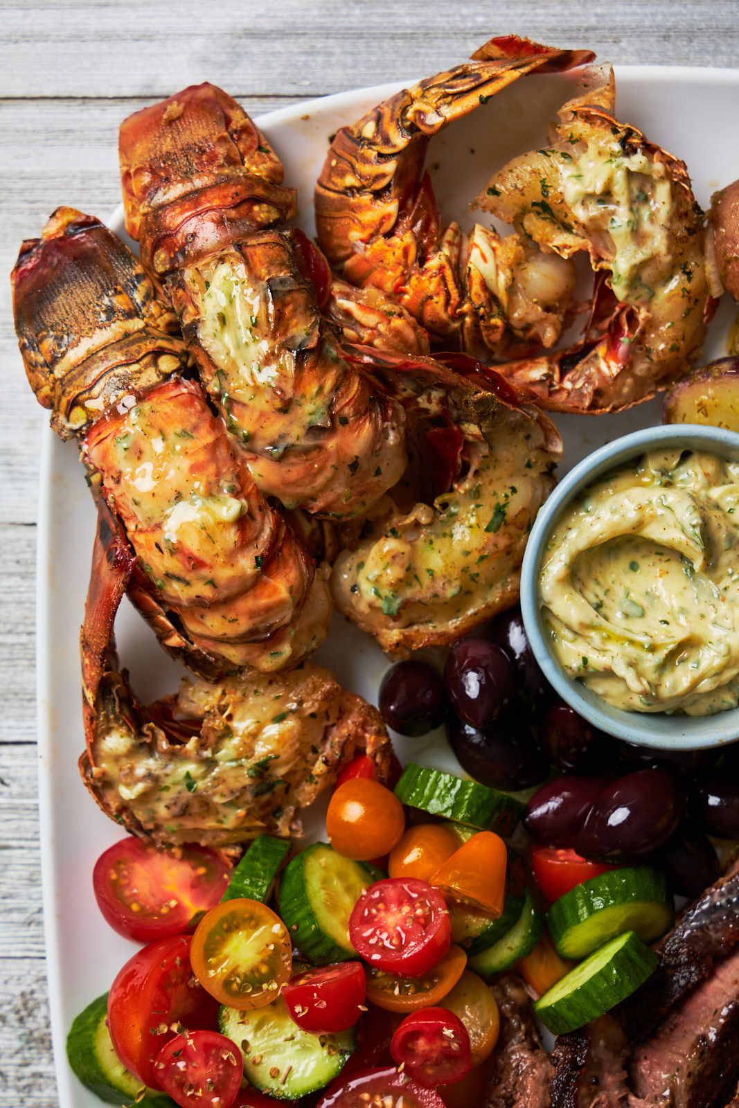 Grilled Lobster Tail and Steak Platter