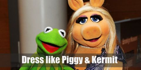 Miss Piggy and Kermit are puppets who look like their animal counterparts. But Miss Piggy has beautiful blonde hair and loves dressing up fancily, while Kermit looks like long, gangly green frog.