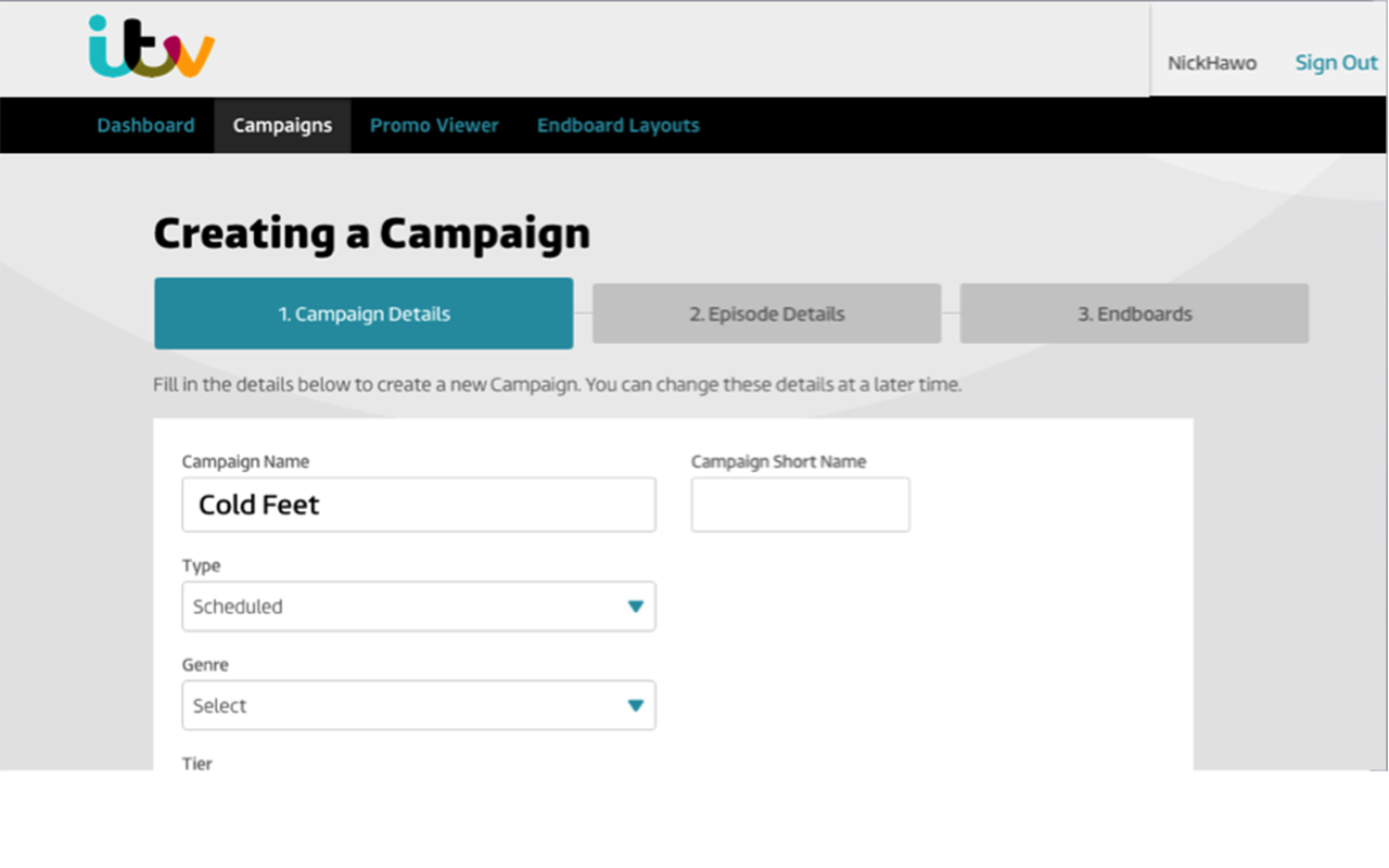 ITV Cantemo Portal Screenshot