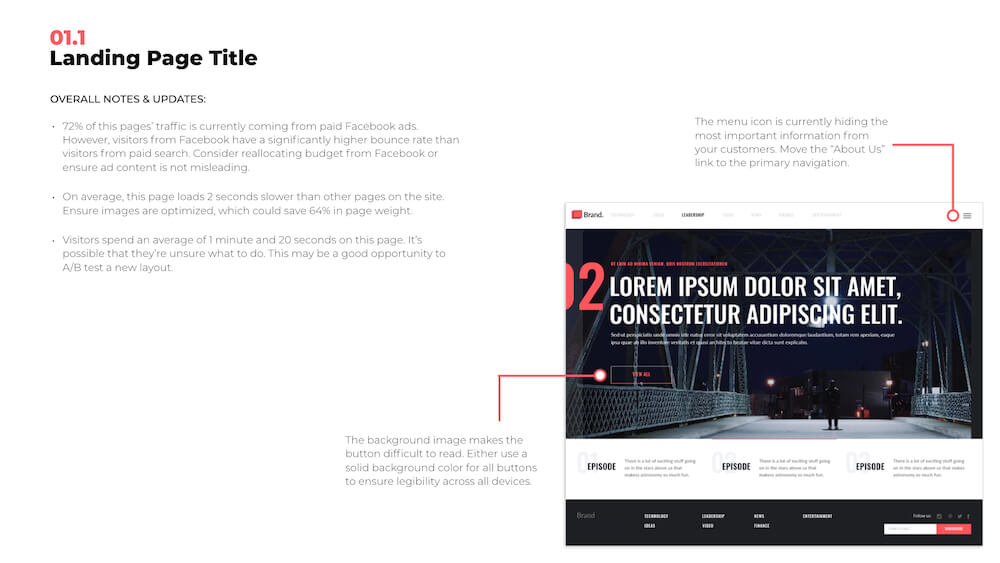 Example of Website Audit and Growth Plan Page