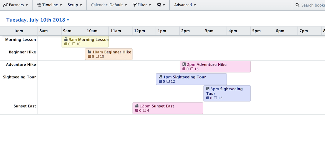 Screenshot of the Timeline View showing a daily schedule.