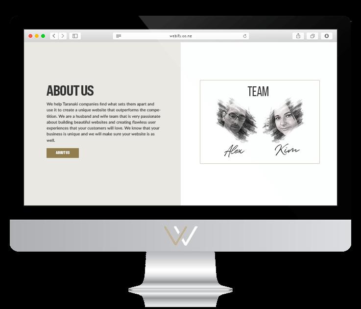 Computer screen displaying website design team