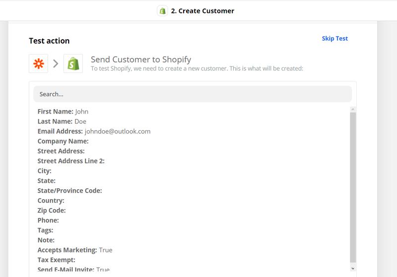 Test the Parseur-Shopify integration