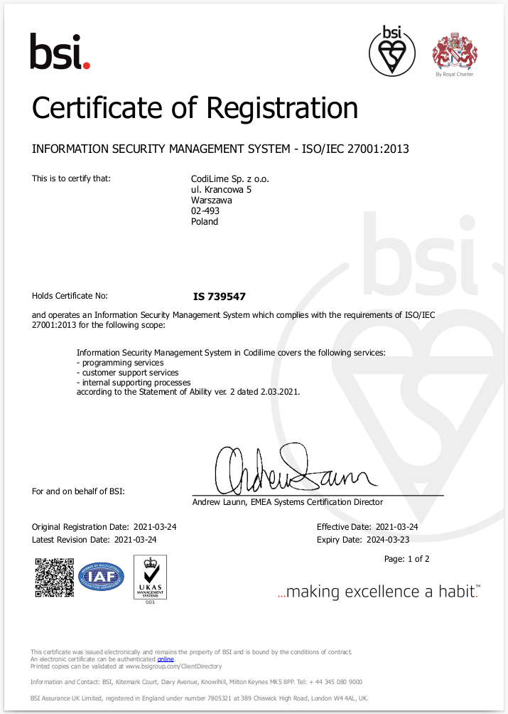 CodiLime ISO 27001 certification