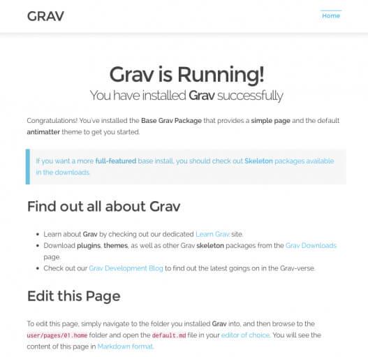 Grav Install Confirmation