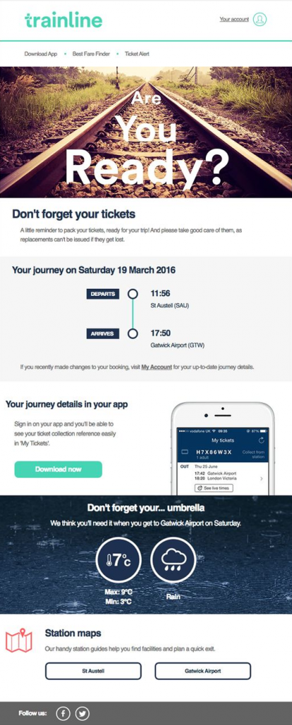 Trainline cross sell email