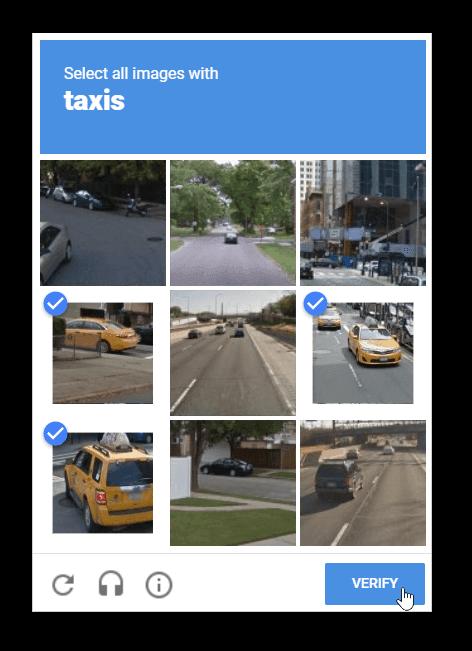 Screenshot of a Google reCaptcha v2 module selecting cars