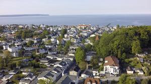 Blick auf die Insel Binz und Lage der Ferienwohnung