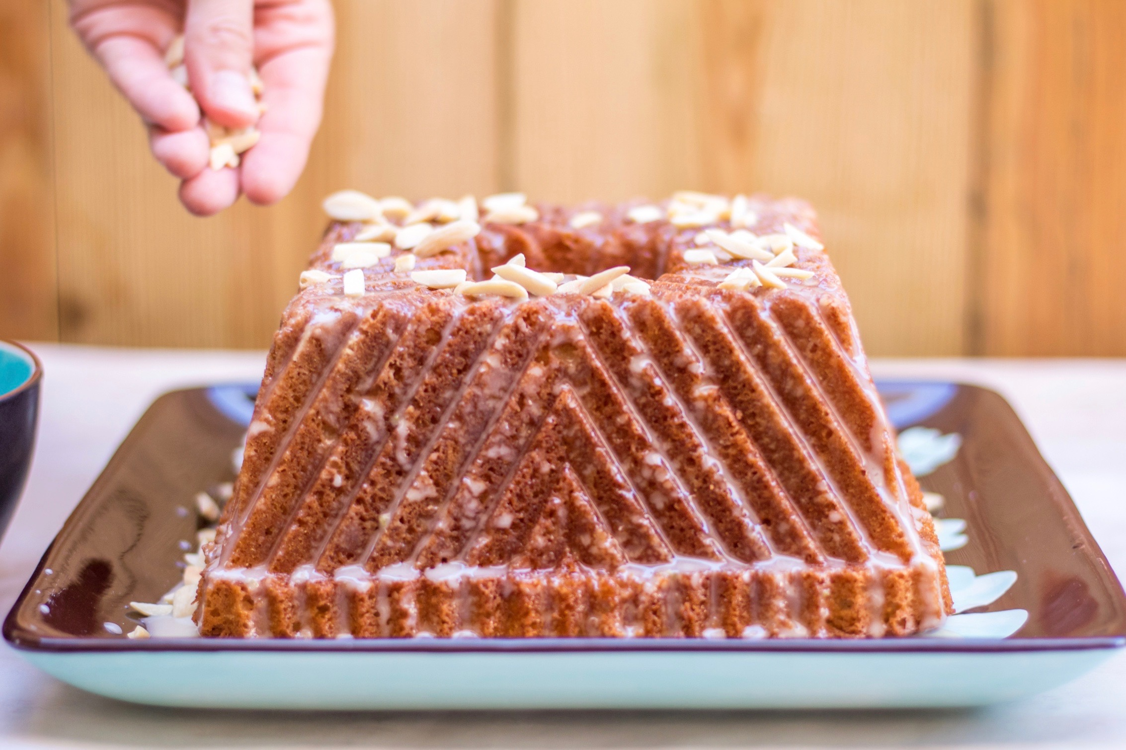 Lemon rosewater and almond bundt cake