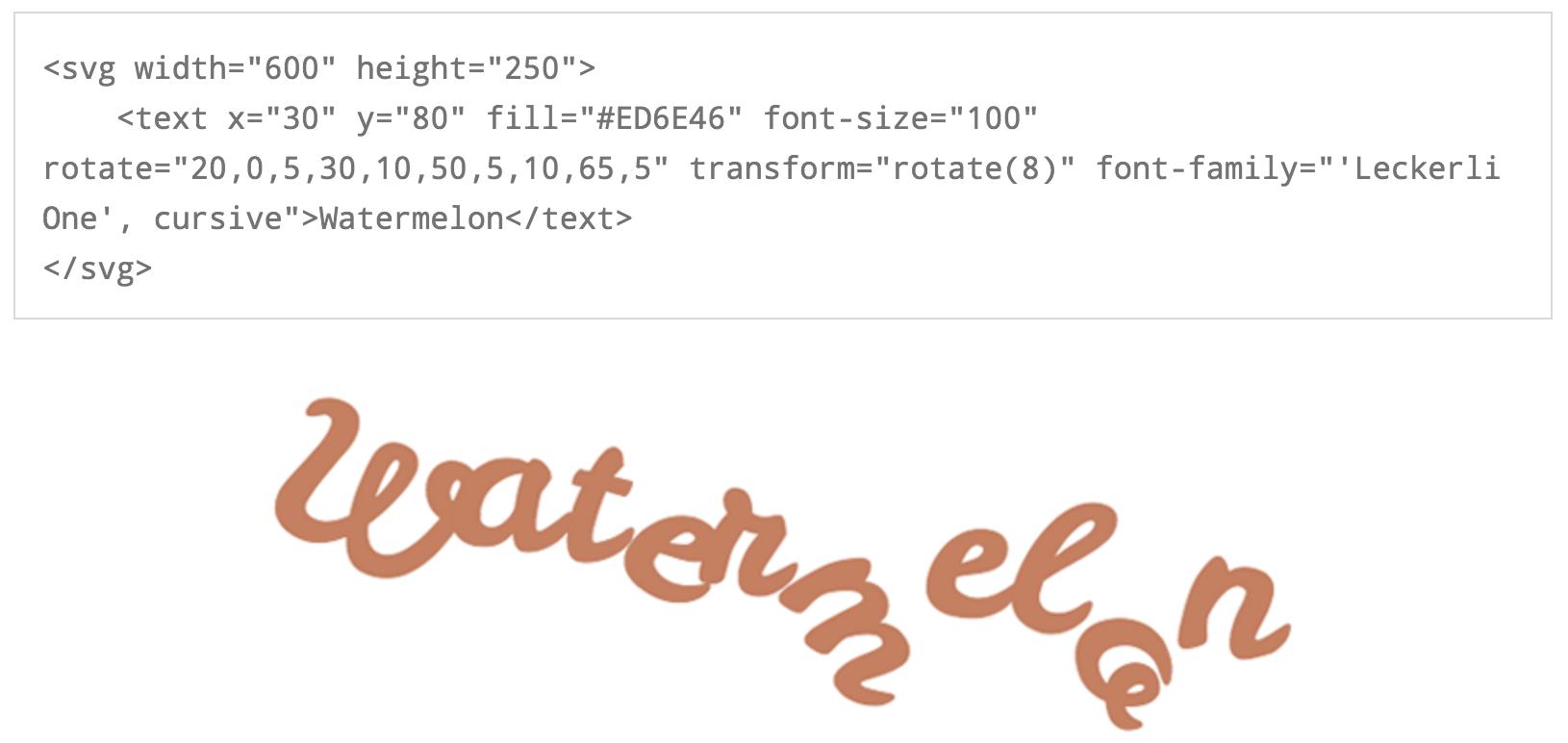 Screenshot SVG text code