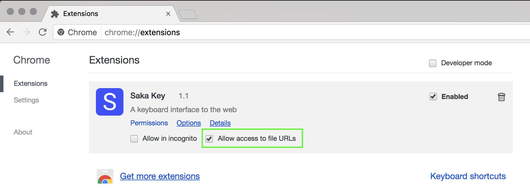 Saka Key on Chrome Extensions Page