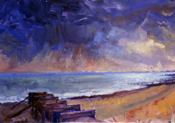 painting of a dramatic brooding sky over Sandgate beach