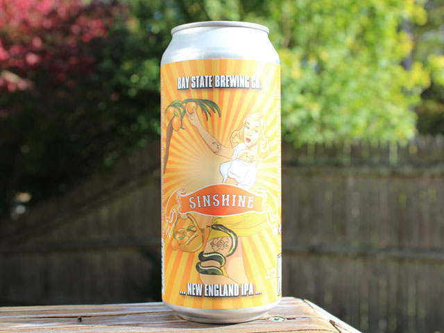 Sinshine, a New England IPA brewed by Bay State Brewing Company