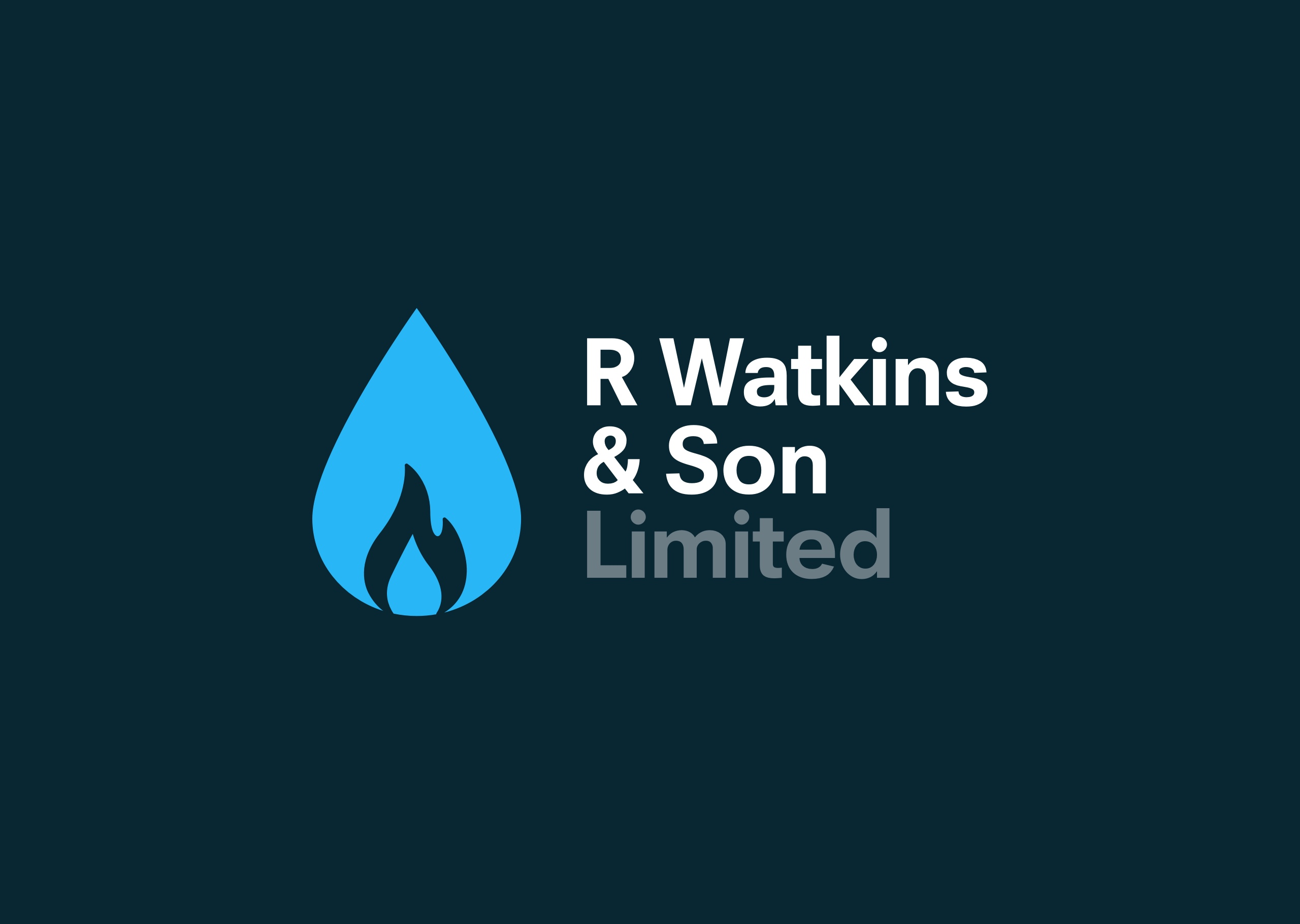 Logo design for established plumbing and heating business, R Watkins & Son Limited