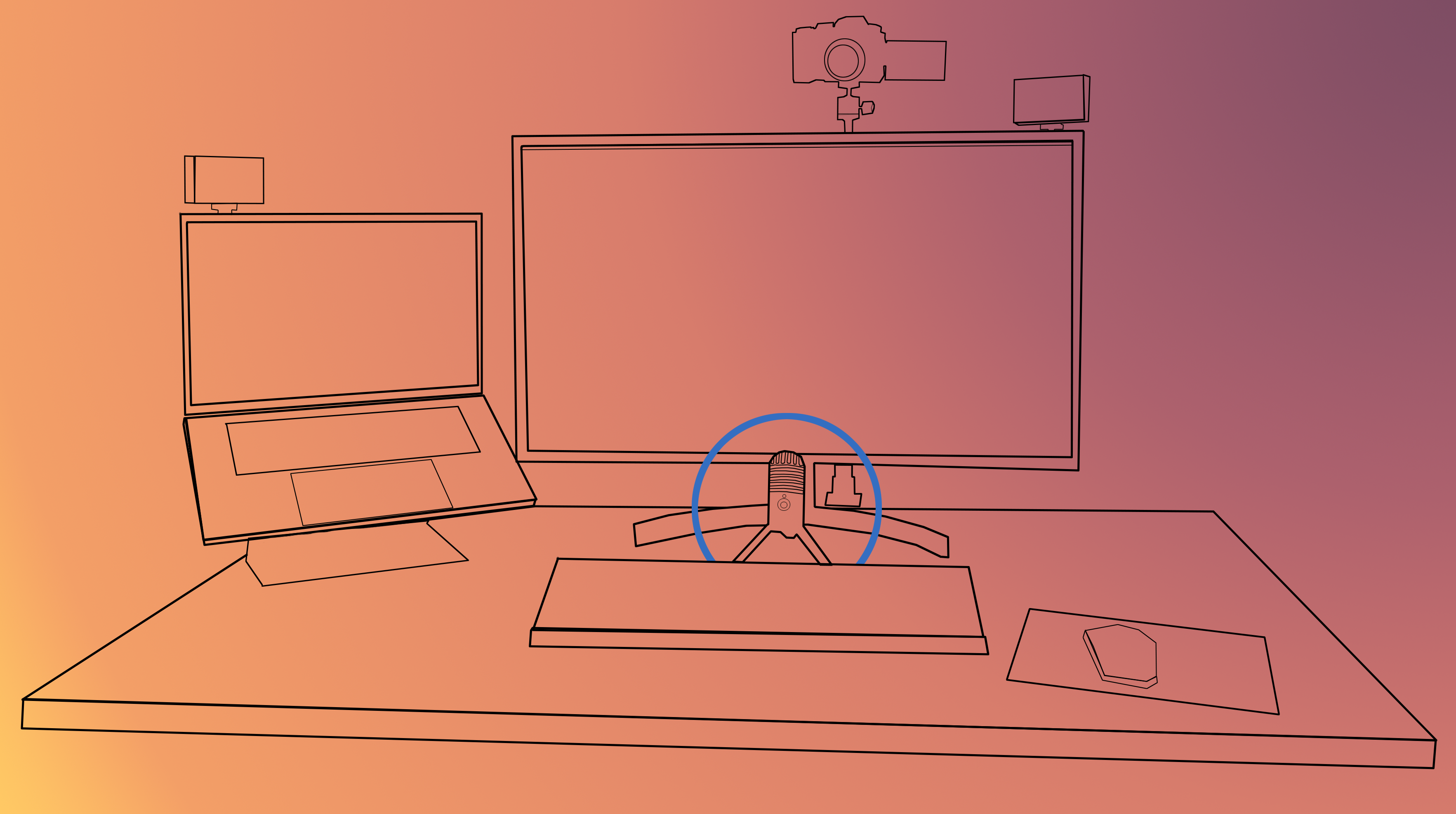 Desk diagram with the microphone circled