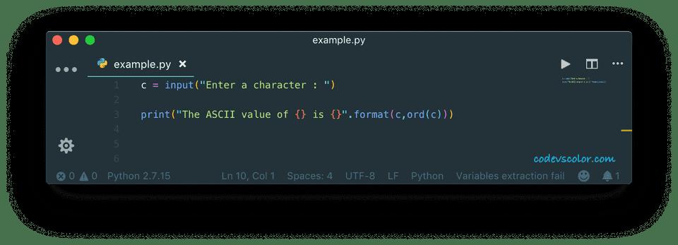 python convert character ascii