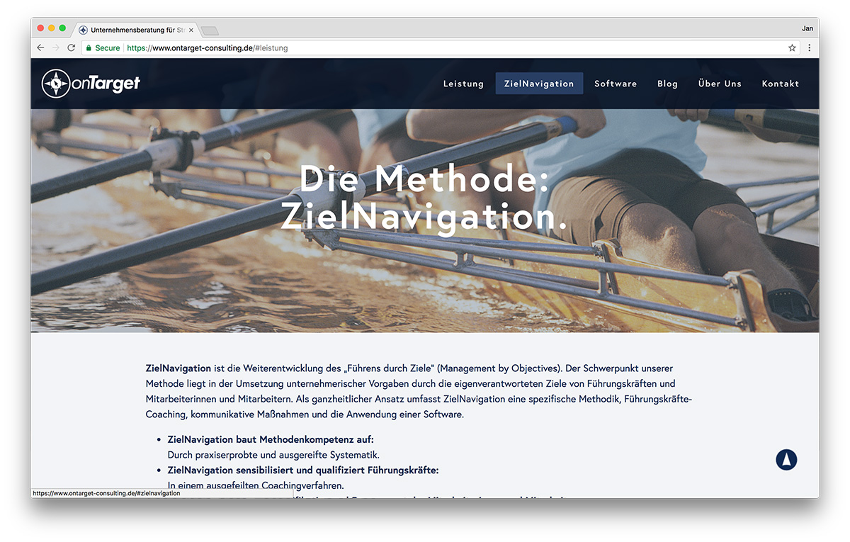 KreativBomber Webdesign Freiburg Projekt onTarget-Consulting - zielNavigator