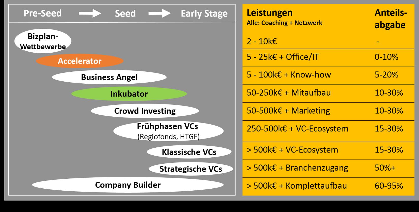 Grafik Leistungen von Startup-Förderern