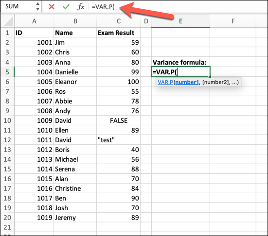 An Excel spreadsheet containing data for student ID, student name, and exam result. The VAR.P formula has been typed into the formula bar