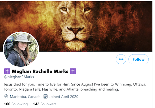 Marks twitter profile where she describes her work as 'preaching and healing.'