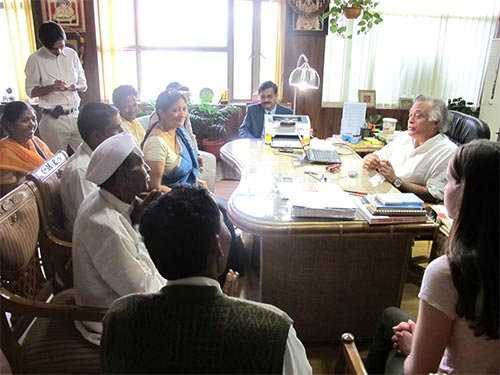 A delegation from Sunderkhal village and the Sankara team at a meeting in New Delhi with the Ministry of Environment and Forests and the National Tiger Conservation Authority.
