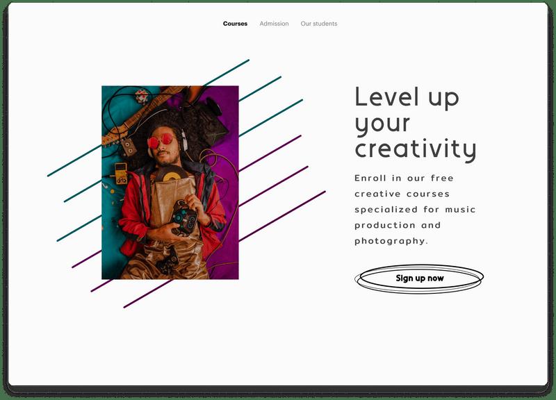 Level up creativity website landing page