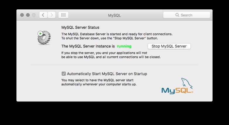 MySQL Install window